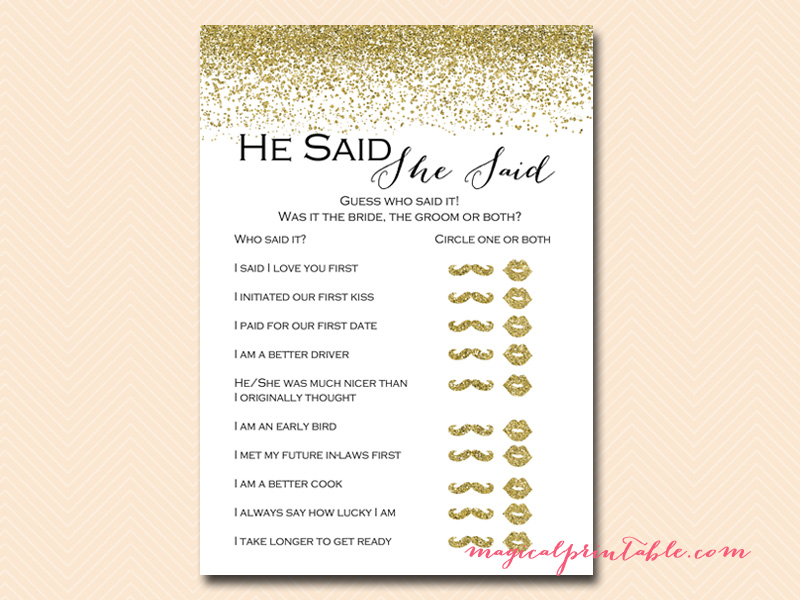 Gold glitter bridal shower game pack magical printable for He said she said bridal shower game template