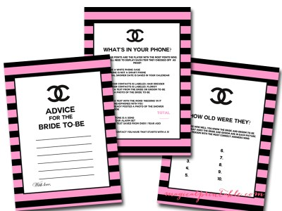 hot pink and black, chanel bridal shower game printables