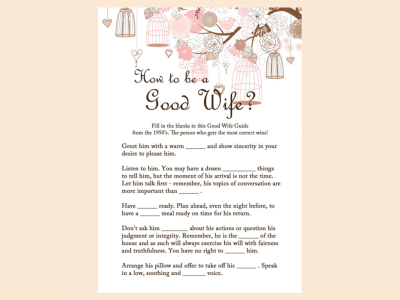 how to be a good wife guide, Pink Bridal Shower Game Printables Pack, Bachelorette Games, Birdcage,