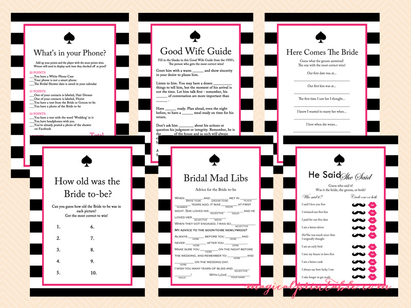 Kate Spade Inspired Bridal Shower Games Magical Printable