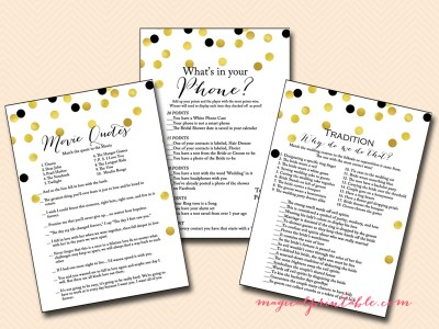 printable gold and black bridal shower game pack, bs104, bs56, printable bridal shower games, modern bridal shower, black and gold confetti