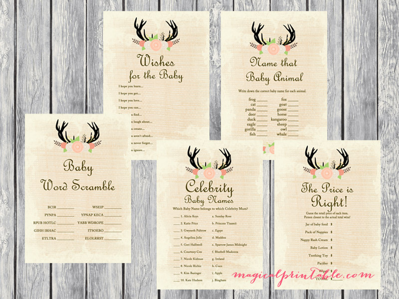 Rustic Country Baby Shower Game Set - Magical Printable