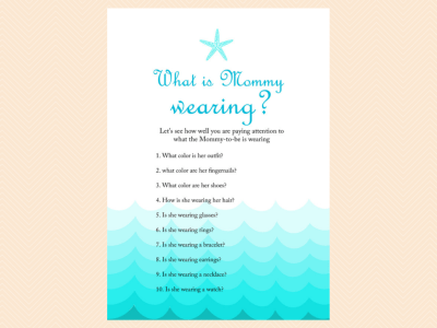 what is mommy wearing, Beach, Sea Waves, Nautical Baby Shower Games Printable, Beach Theme