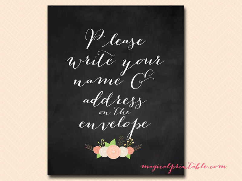 Write On Wedding Gift Envelope : Chalkboard, Modern Wedding, Bridal Shower SignMagical Printable