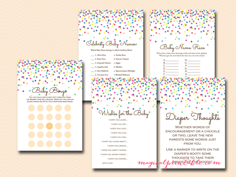 Baby Sprinkle Games, Confetti Baby Shower Games