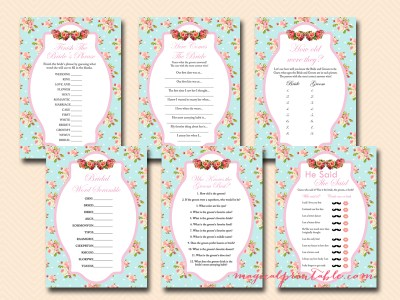 blue floral bridal shower game packs, shabby chic bridal shower games