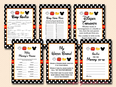 free mickey mouse baby shower games, instant download, mickey mouse baby shower games
