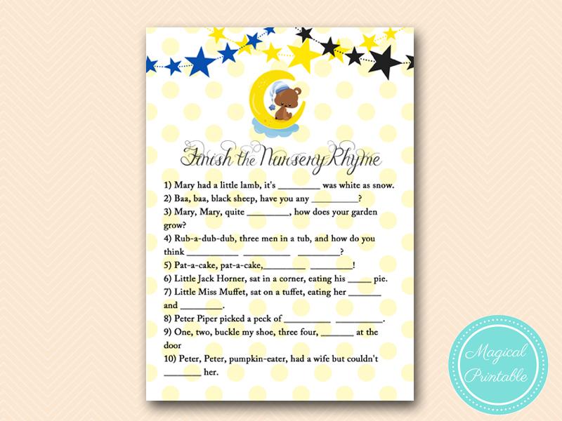 Nursery Rhyme Game Twinkle Twinkle Little Star Baby Shower, Gender Reveal