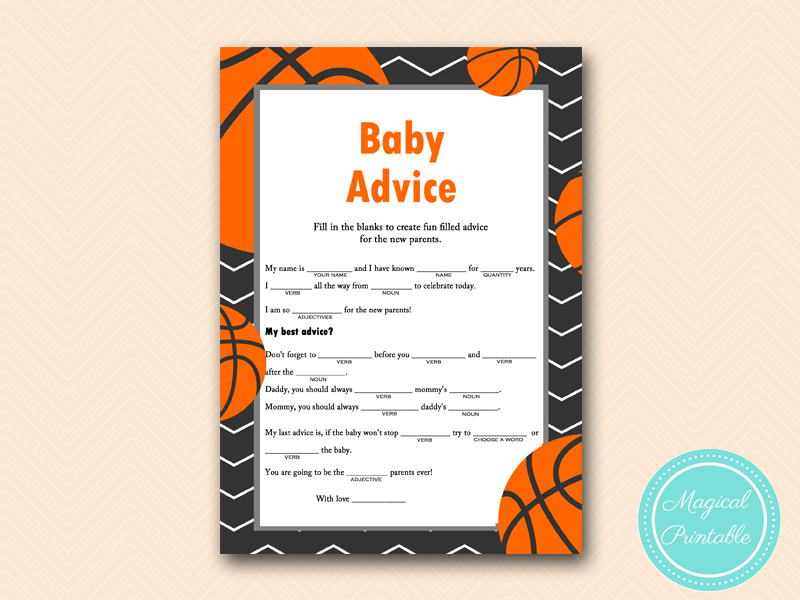 baby madlibs basketball baby shower