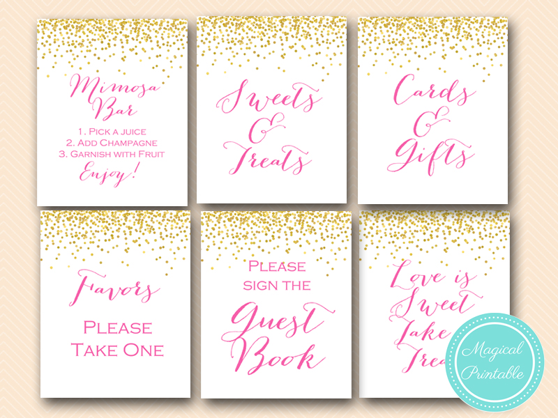 Sn33 Bs63 Hot Pink Bridal Shower Baby Wedding Signages