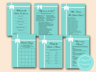 tiffany blue bridal shower game pack tlc54 breakfast at tiffanys