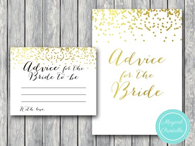 advice-for-the-bride-sign gold confetti bridal shower games