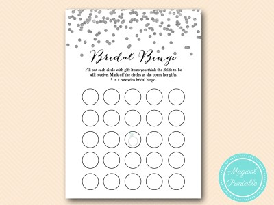 bridal bingo gift Silver Foil Confetti Bridal Shower Games Pack