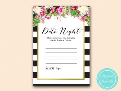 date-night-card  pink floral black stripes gold