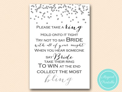 dont-say-bride-sign Silver Foil Confetti Bridal Shower Game