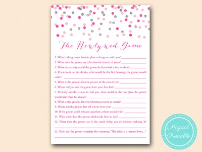 BS179-newlywed-game-Pink-silver-confetti-bridal-shower-games