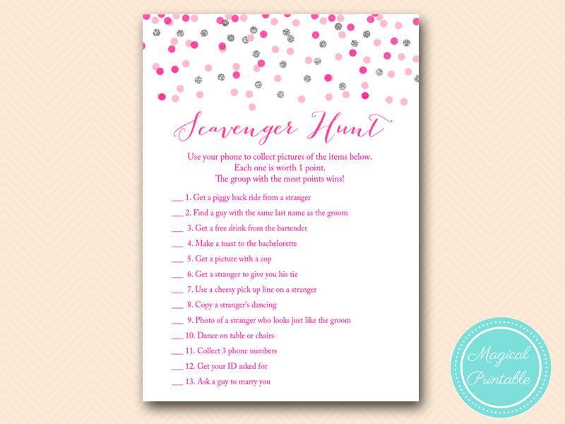BS179 Scavenger Hunt Pink Silver Confetti Bridal Shower