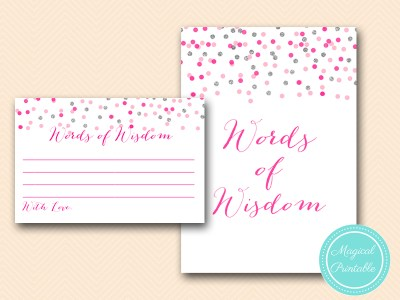 BS179-words-of-wisdom-cards-Pink-silver-confetti-bridal-shower-games