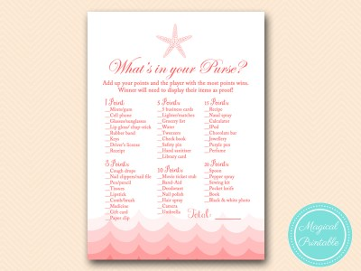 BS182-whats-in-your-purse-nautical-coral-beach-bridal-shower-game