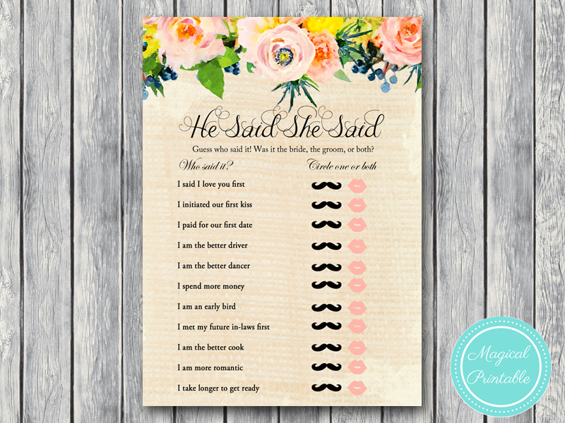 bs183 he said she said rustic burlap floral bridal shower games