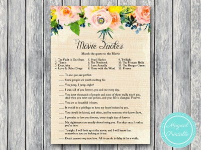 BS183-movie-quote-game-rustic-burlap-floral-bridal-shower-games