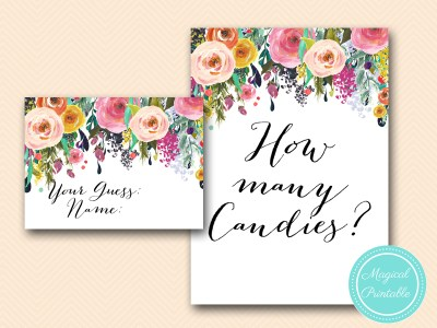 bs138-how many candies floral bridal shower baby shower game