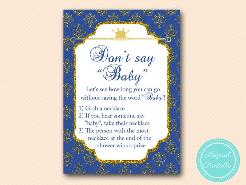 Royal Prince Baby Shower Game Pack - Magical Printable