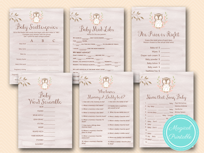 Owl Baby Shower Games - Woodland - Magical Printable