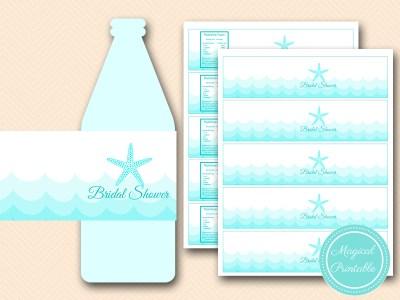 bridal shower water bottle labels beach nautical bs28