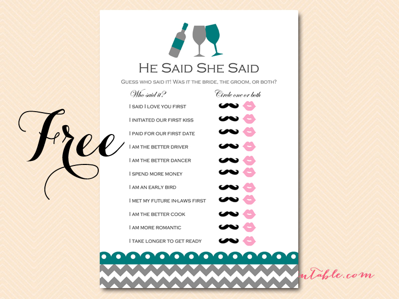 Sly image regarding he said she said bridal shower game free printable