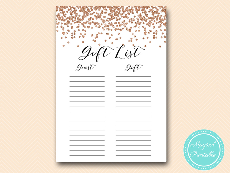 rose gold confetti bridal shower games