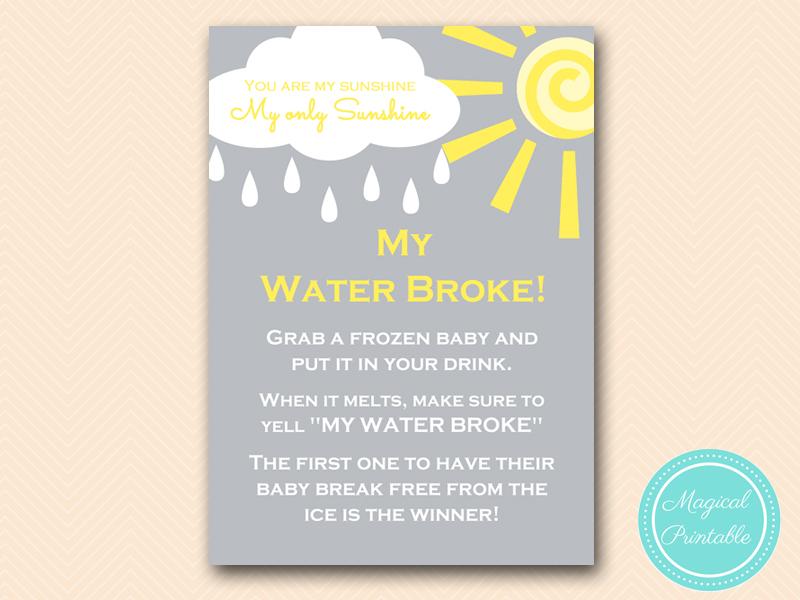 tlc112 my water broke sunshine baby shower game