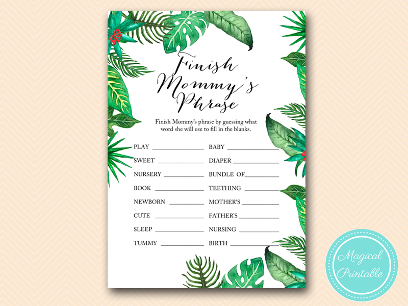 tlc428 finish mommys phrase whiteback luau tropical baby shower game