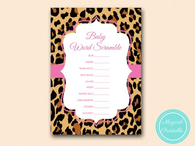 TLC431-scramble-baby-girl-hot-pink-leopard-baby-shower-game