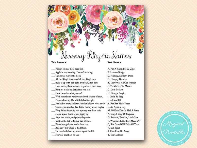 ... Nursery Rhyme Names20Q Chic Baby Shower Game Tlc140 ...