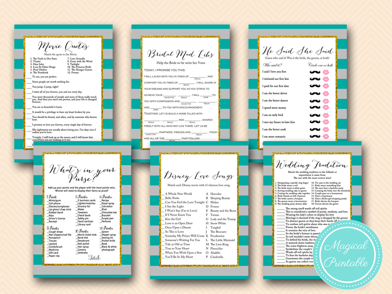 gray and teal bridal shower games magical printable