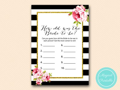 BS10B-how-old-was-the-bride-black-stripes-pink-floral-chic-bridal-shower-game