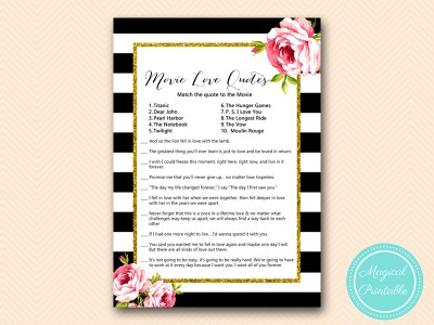 BS10B-movie-love-quotes-match-black-stripes-pink-floral-chic-bridal-shower-game