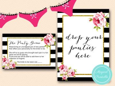 BS10B-panty-game-drop-black-stripes-pink-floral-chic-bridal-shower-game