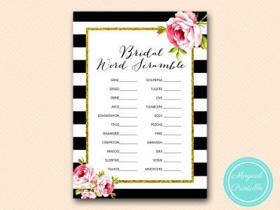 BS10B-scramble-bridal-words-black-stripes-pink-floral-chic-bridal-shower-game
