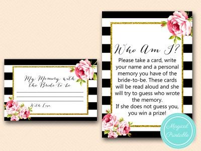 BS10B-who-am-i-memory-lane-black-stripes-pink-floral-bridal-shower-game