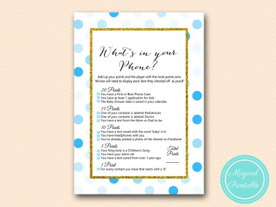 TLC430-B-whats-in-your-phone-boy-blue-dots-baby-shower-game-gold