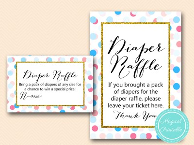 TLC430-R-diaper-raffle-sign-5x7 Gold, Pink, Blue Dots Gender Reveal