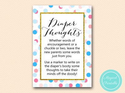 TLC430-R-diaper-thoughts-5x7 Gold, Pink, Blue Dots Gender Reveal