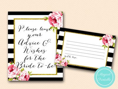 advice-wishes-for-bride to be card and sign