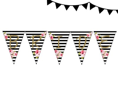 banner-BLACK STRIPES BRIDE TO BE BANNER