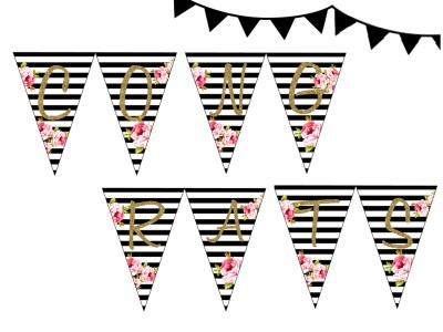 banner BLACK STRIPES FLORAL CONGRATS BUNTING BRIDAL SHOWER WEDDING