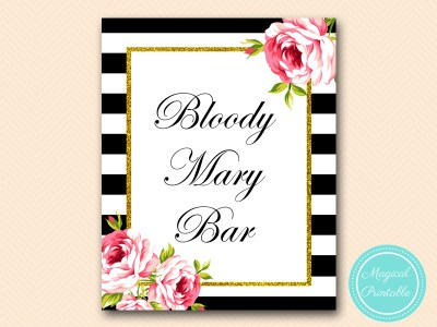 bloody mary bar sign black stripes floral bridal shower sign wedding sign