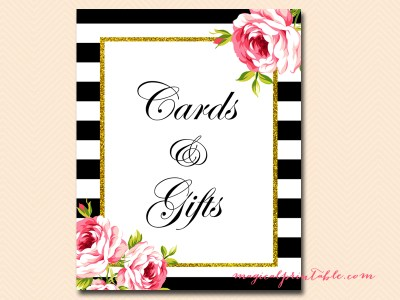 cards and gifts black stripes floral bridal shower sign wedding sign