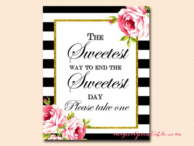 sign-sweetest-day-take-one black stripes floral bridal shower sign wedding sign